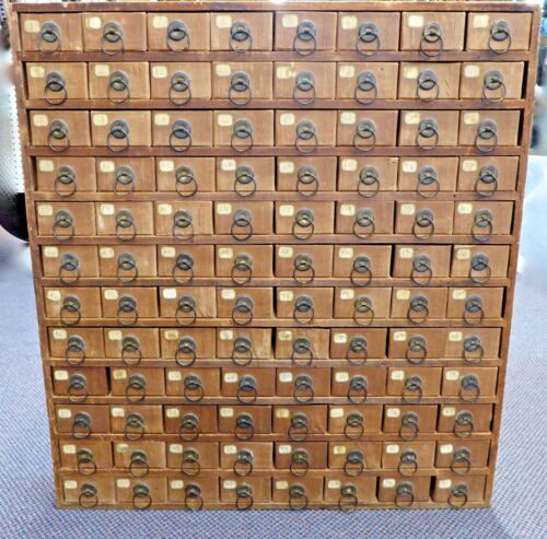 """Antique Wood-Framed 96 DRAWER Cabinet. Store Hardware,Toys,Jewelry.29"""" Tall.1900"""