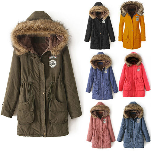 Women Winter Long Sleeve Faux Fur Hooded Slim Jacket Coat Parka Outwear Advanced