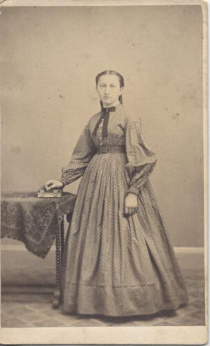 CDV PORTRAIT OF YOUNG WOMAN IN BEAUTIFUL DRESS W/ BOOK - GREENVILLE, PA
