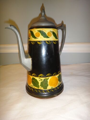 Antique Tole Painted Coffee Pot Manning Pre- Bowman Tin Copper Bottom Pewter
