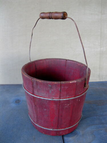"""Antique Bucket Firkin Small 6-1/2"""" Pail Old Red Paint Wood Primitive Wire Bands"""
