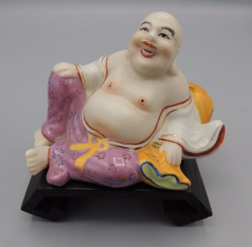 Vintage Chinese Reclining Buddha Figurine with Stand Hand Decorated Colorful