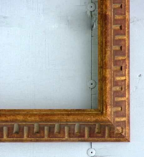 """FRAME AMERICAN CARVED MID CENTURY MODERN GEOMETRIC SOLID WOOD FITS 23"""" x 17"""""""