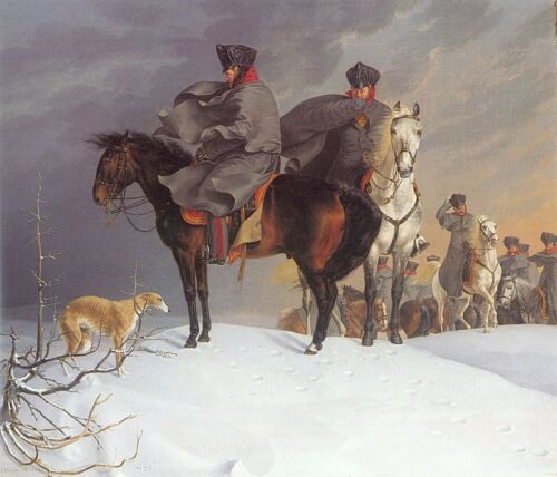Oil painting Kruger, Franz German - Prussian Cavalry Outpost in the Snow & horse