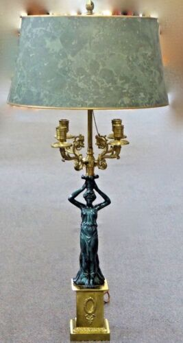 Neoclassical-Style Figural 4-Arm Candlelabra 2-Bulb Table/Mantle Lamp. NYC.1940.
