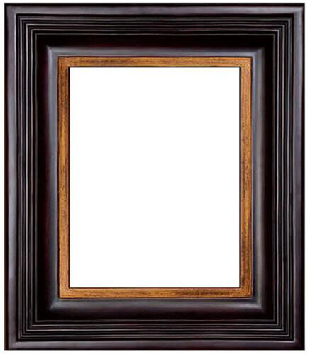 24 x 30 Black W/ Red Rub Finish & Hand Applied Gold Leaf Beautiful Picture Frame