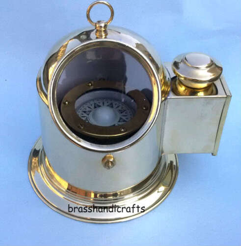 Vintage Brass Binnacle Compass Boat Compass with Oil Lamp Nautical Repro Compass