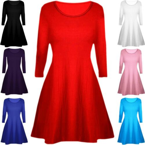 Kids Plain Long Sleeve Stretchy A Line Skater Girls Swing Dress Top 5-13 Years