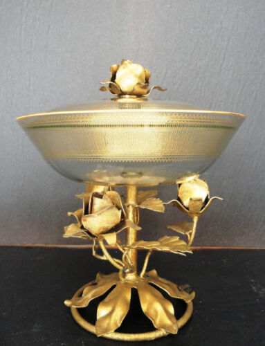 Italian Tole Gold Gilt Covered Dish Metal Roses Glass Crystal Pedestal