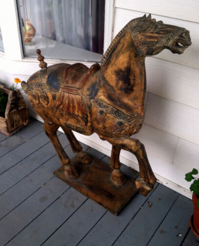 Antique Chinese Wooden Hand Carved Tang Dynasty Type Gilt Large War Bronco Horse