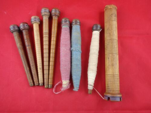 Vintage Wood Textile Sewing BOBBINS SPINDLES SPOOLS WITH THREAD YARN LOT OF 9