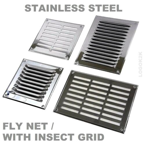 Stainless Steel Louvre Air Vent Grille Cover Metal Duct Ventilation - FLY SCREEN