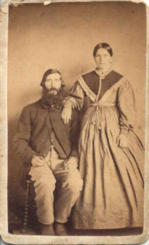 CDV PORTRAIT OF OLDER COUPLE W/ STAMP ON BACK - LANCASTER, PA