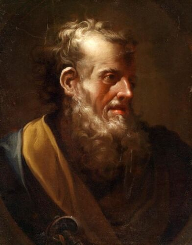 Hand painted free shipping  @ Oil painting male portrait St.Peter with big beard