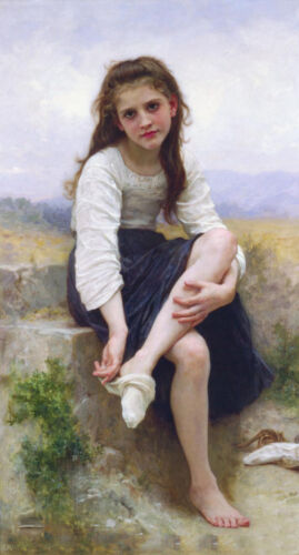 """Dream-art Oil painting Bouguereau - Nice young girl - Before bath by river 36"""""""