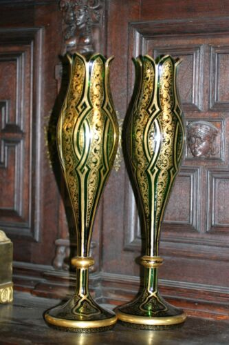 PAIR OF ANTIQUE GOLD PLATED HAND MADE BOHEMIAN MOSER TALL GLASS URNS, , 19C.