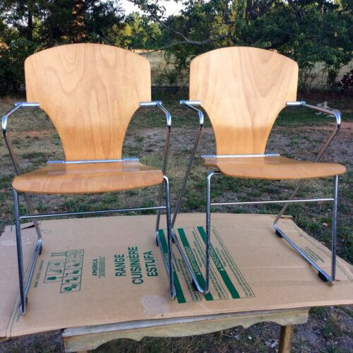 MIDCENTURY ITALIAN MODERN DESIGNER BIRCH PLYWOOD CHROME TUBE ADJUSTABLE CHAIRS