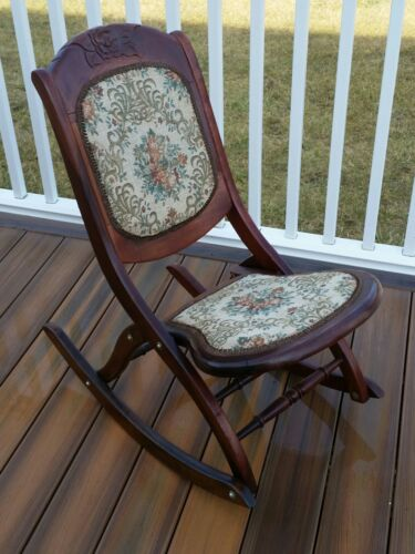 Vintage Carved Walnut Folding Rocking Chair with Tapestry Fabric Seat (Local PU)