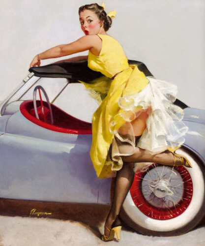 COVER UP 1955 GIL ELVGREN VINTAGE STYLE PIN UP POSTER PRINT 24x20 9MIL PAPER
