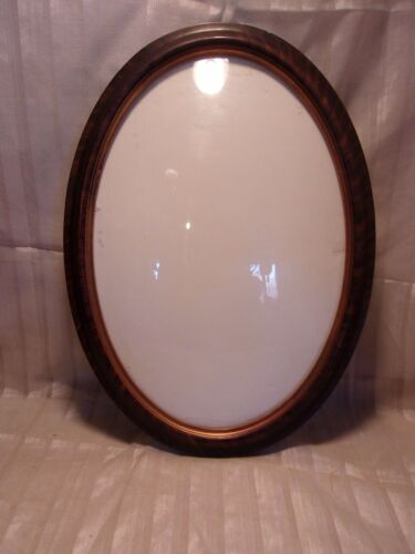 Antique TIGER FINISH bubble glass frame16x22 holds 13 1/2 x 19 3/4 molding 1 1/2