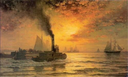 Oil painting Moran Edward American artist - New York Harbor seascape with ship