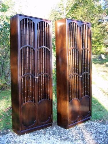 Pair Tall VTG Solid Mahogany Hollywood Regency China Curio Display Cabinets