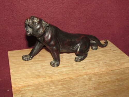 Antique Japanese Bronze Tiger Sculpture Meiji Period Signed