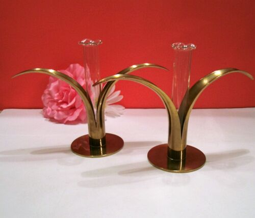 Antique☀️Ystad Metall Set of 2 Brass Lily Candle Holders/ Glass Bud Vase☀️Sweden