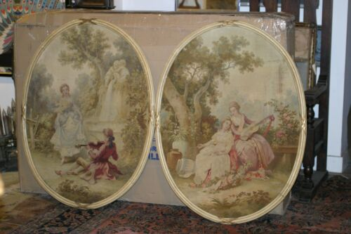PAIR OF ORIGINAL AUBUSSON ANTIQUE FRENCH HAND WOVEN TAPSTRY, FRAMED,MUSEUM QUALI