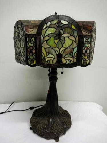 Vintage Lead Glass Tiffany Style Lamp with iridescent Glass Shade Lot 31