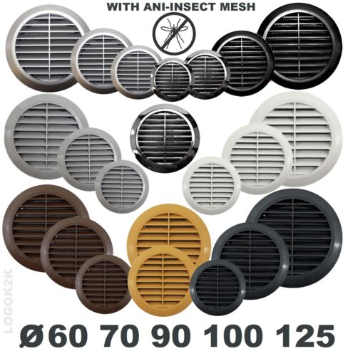 Circle Air Vent Grill Cover Round Ducting Ventilation Fly Net Wall Ceiling 4