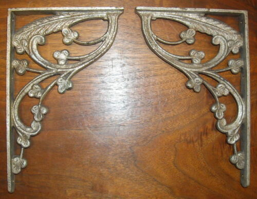PR antique 1920s 1930s ITALIAN DECO NOUVEAU BRONZE silver finish SHELF BRACKETS