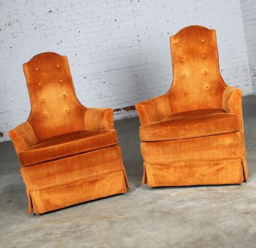 Vintage Hollywood Regency Orange Velvet High Back Pair of Chairs by Perfection F