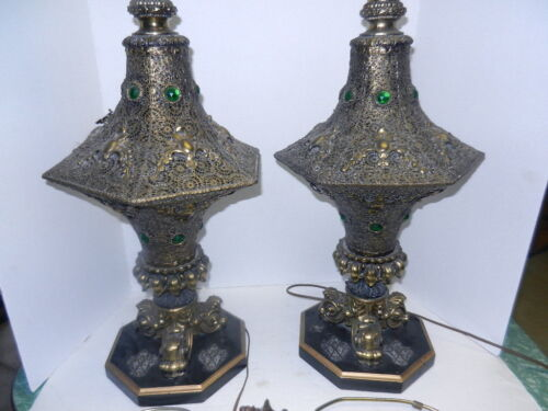 Vintage Pierced Brass tone Moroccan Table Lamps