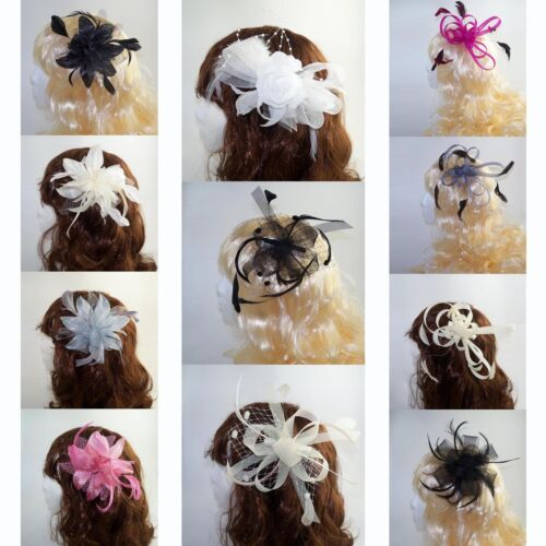 Ladies / Wedding Day, Prom Fascinator on Clear Comb with Feather detail