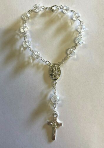 Clear crystal rosary with Cross