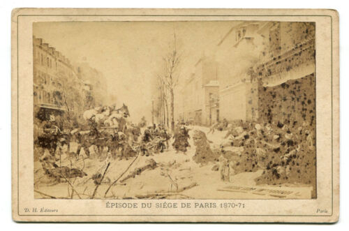 THE SIEGE OF PARIS 1870-71. PHOTO OF ARTIST RENDERING CABINET CARD.
