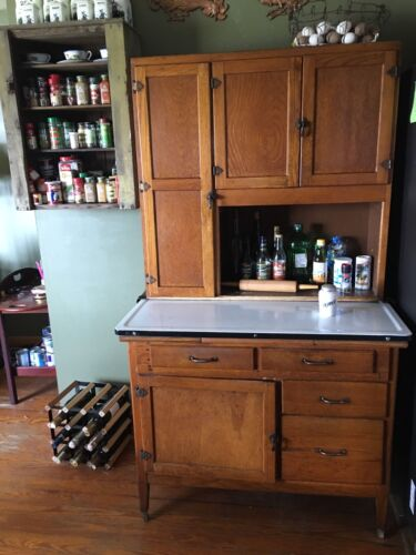 Antique Oak Hoosier Style Cabinet Ohio