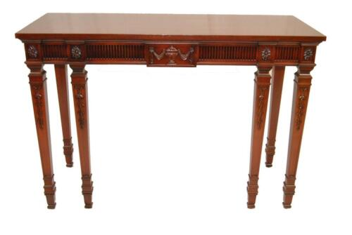 CARVED MAHOGANY FEDERAL STYLE 6 LEG CONSOLE TABLE BY IRVING & CASSON