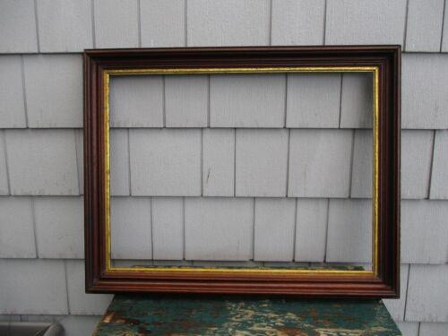 Large Antique 19thC Walnut Deep Picture Frame with Gilt Liner  fits 18 x 24