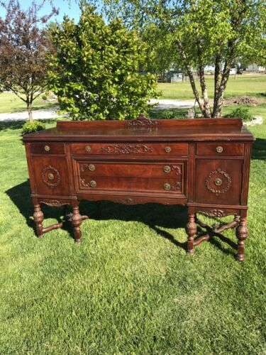 Antique French Wood Buffet Sideboard Server Credenza Cabinet