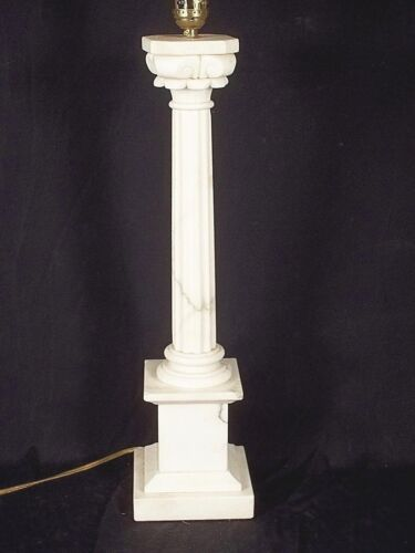 VINTAGE EARLY 20th CENTURY CARVED MARBLE FLUTED COLUMN LAMP ON A PLINTH BASE