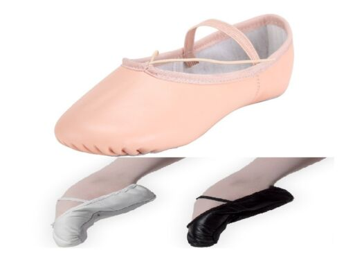 Leather Ballet Shoes Full Sole with Attached Elastics