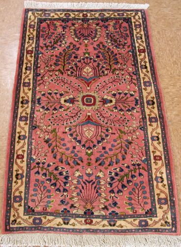 """2'3"""" x 4'1"""" Persian SAROUK Hand Knotted Wool ROSE IVORY Oriental Rug Runner"""
