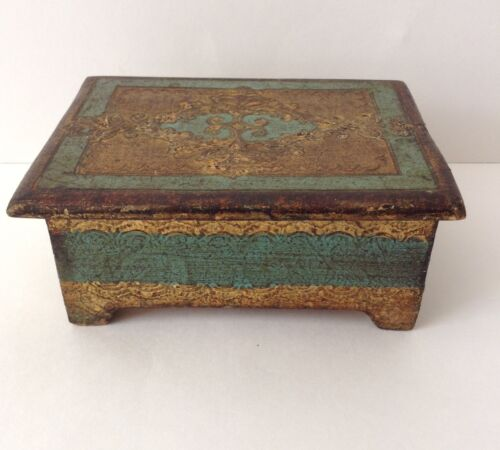 Vintage Florentine Gold Gilt Toleware Italian Footed Box So Lovely!!
