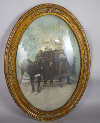 Sweet Story! Victorian Twins w/ Dog Domed Convex Bubble Glass Frame Photograph
