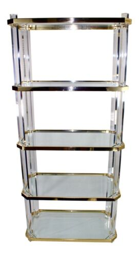 Vintage Lucite Etagere -Brass with Glass Shelves