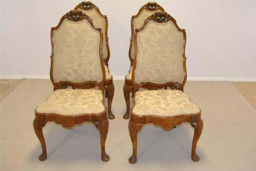 SET OF FOUR FRENCH BURLED WOOD ANTIQUE SIDE CHAIRS