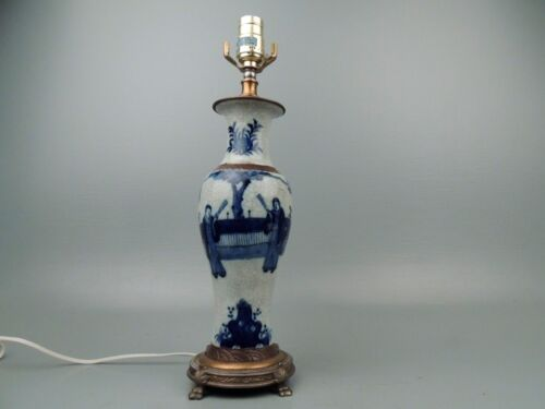 Chinese Blue & White Crackle Glaze Porcelain Vase Mounted as Lamp - 20th Cent PC