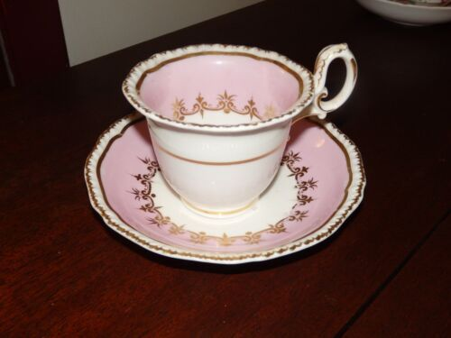 Antique Porcelain HAND PAINTED Teacup and Saucer-Pink with elegant flared edges!